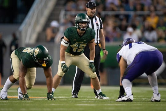 Sep 1, 2018; Waco, TX, USA; Baylor Bears linebacker Chad Kelly (49) in action during the game against the Abilene Christian Wildcats at McLane Stadium. Mandatory Credit: Jerome Miron-USA TODAY Sports