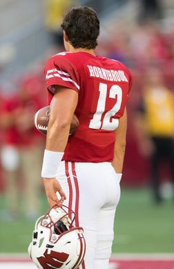 Aug 31, 2018; Madison, WI, USA; Wisconsin Badgers quarterback Alex Hornibrook (12) during warmups prior to the game against the Western Kentucky Hilltoppers at Camp Randall Stadium. Mandatory Credit: Jeff Hanisch-USA TODAY Sports
