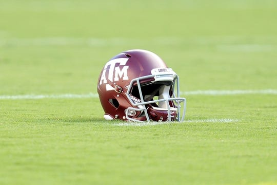 Aug 30, 2018; College Station, TX, USA; A Texas A&M Aggies helmet rests on the field prior to the game against the Northwestern State Demons at Kyle Field. Mandatory Credit: Erik Williams-USA TODAY Sports