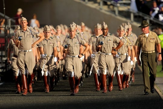 Aug 30, 2018; College Station, TX, USA; The Texas A&M Aggies Corps of Cadets enter the field prior to the game against the Northwestern State Demons at Kyle Field. Mandatory Credit: Erik Williams-USA TODAY Sports