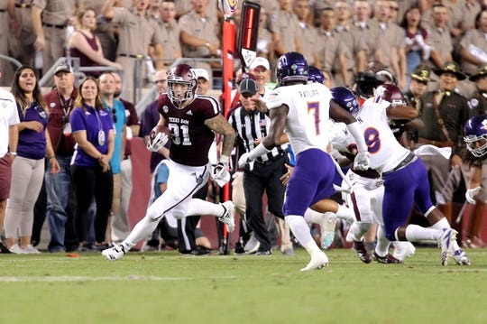 Aug 30, 2018; College Station, TX, USA; Texas A&M Aggies tight end Jace Sternberger (81) carries the ball after a pass reception against the Northwestern State Demons during the first quarter at Kyle Field. Mandatory Credit: Erik Williams-USA TODAY Sports