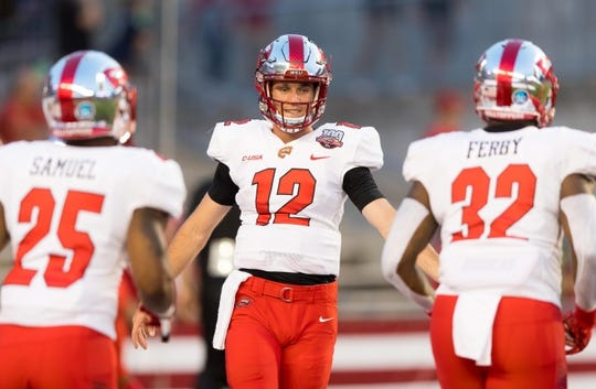 Aug 31, 2018; Madison, WI, USA; Western Kentucky Hilltoppers quarterback Davis Shanley (12) during warmups prior to the game against the Wisconsin Badgers at Camp Randall Stadium. Mandatory Credit: Jeff Hanisch-USA TODAY Sports