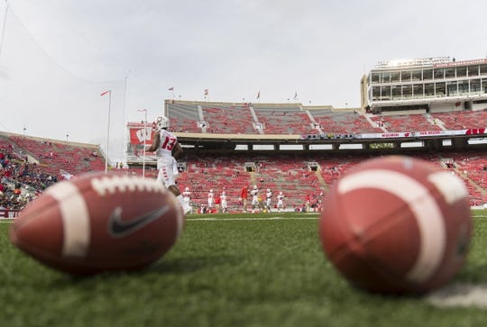 Sep 8, 2018; Madison, WI, USA; The New Mexico Lobos warm up prior to a game against the Wisconsin Badgers at Camp Randall Stadium. Mandatory Credit: Jeff Hanisch-USA TODAY Sports