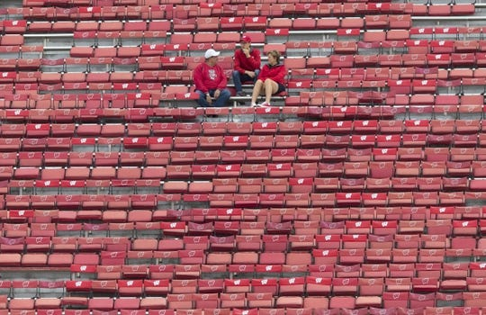 Sep 8, 2018; Madison, WI, USA; Wisconsin Badgers fans sit in the stands prior to a game agains the New Mexico Lobos at Camp Randall Stadium. Mandatory Credit: Jeff Hanisch-USA TODAY Sports