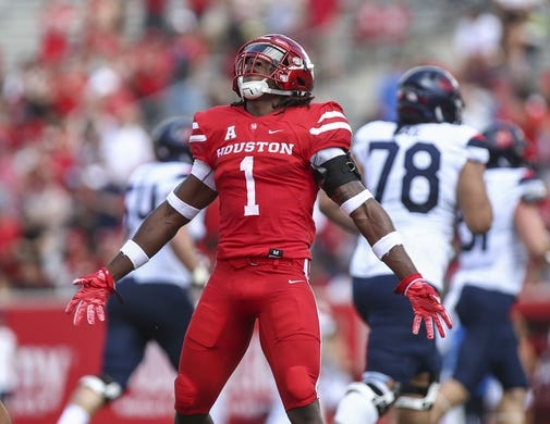 Sep 8, 2018; Houston, TX, USA; Houston Cougars defensive back Garrett Davis (1) celebrates after making an interception during the first quarter against the Arizona Wildcats at TDECU Stadium. Mandatory Credit: Troy Taormina-USA TODAY Sports