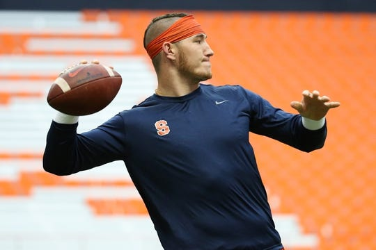 Sep 8, 2018; Syracuse, NY, USA; Syracuse Orange quarterback Rex Culpepper (15) warms up prior to a game against the Wagner Seahawks at the Carrier Dome. Mandatory Credit: Rich Barnes-USA TODAY Sports