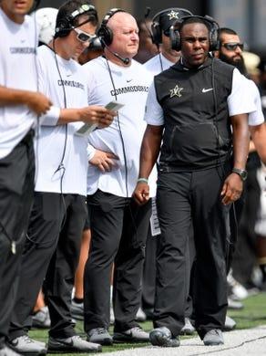 Sept. 8, 2018; Nashville, TN, USA; Vanderbilt head coach Derek Mason watches his team face Nevada during the first half at Vanderbilt University. Mandatory Credit: Andrew Nelles / Tennessean via USA TODAY NETWORK