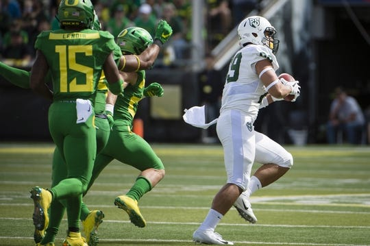 Sep 8, 2018; Eugene, OR, USA; Portland State Vikings tight end Charlie Taumoepeau (89) catches a pass for a touchdown during the first half against the Oregon Ducks at Autzen Stadium. Mandatory Credit: Troy Wayrynen-USA TODAY Sports