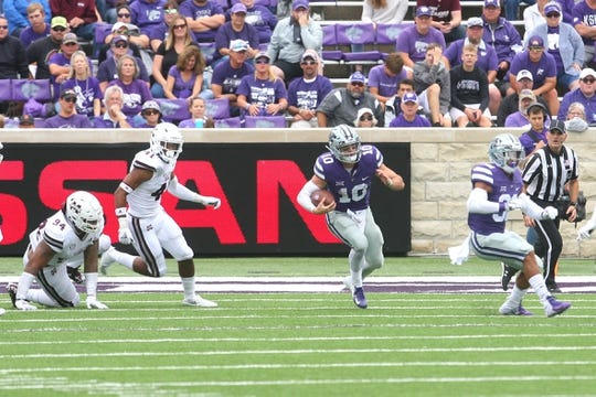 Sep 8, 2018; Manhattan, KS, USA; Kansas State Wildcats quarterback Skylar Thompson (10) carries the ball during the fourth quarter against the Mississippi State Bulldogs at Bill Snyder Family Stadium. The Bulldogs won 31-10. Mandatory Credit: Scott Sewell-USA TODAY Sports