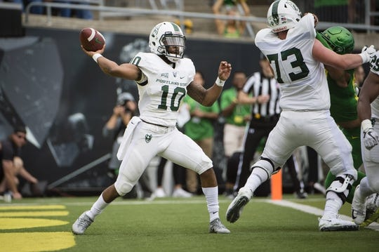 Sep 8, 2018; Eugene, OR, USA; Portland State Vikings quarterback Jalani Eason (10) throws a pass during the first half against the Oregon Ducks at Autzen Stadium. Mandatory Credit: Troy Wayrynen-USA TODAY Sports