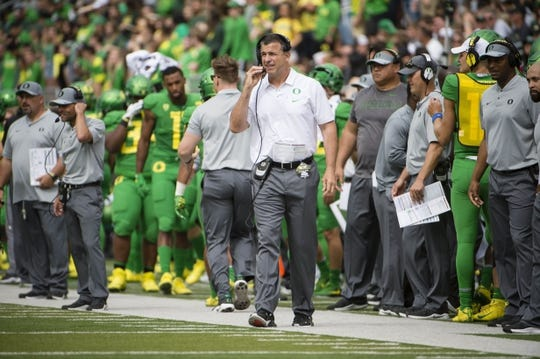 Sep 8, 2018; Eugene, OR, USA; Oregon Ducks head coach Mario Cristobal along the sidelines during the first half against the Portland State Vikings at Autzen Stadium. Mandatory Credit: Troy Wayrynen-USA TODAY Sports