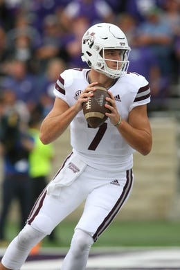 Sep 8, 2018; Manhattan, KS, USA; Mississippi State Bulldogs quarterback Nick Fitzgerald (7) drops back to pass during the fourth quarter against the Kansas State Wildcats at Bill Snyder Family Stadium. Mandatory Credit: Scott Sewell-USA TODAY Sports