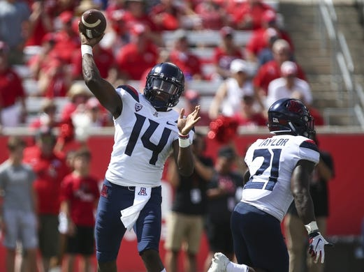 Sep 8, 2018; Houston, TX, USA; Arizona Wildcats quarterback Khalil Tate (14) attempts a pass during the first quarter against the Houston Cougars at TDECU Stadium. Mandatory Credit: Troy Taormina-USA TODAY Sports
