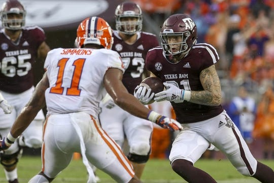 Sep 8, 2018; College Station, TX, USA; Texas A&M Aggies tight end Jace Sternberger (81) runs for a first down after a reception during the first quarter against the Clemson Tigers at Kyle Field. Mandatory Credit: John Glaser-USA TODAY Sports