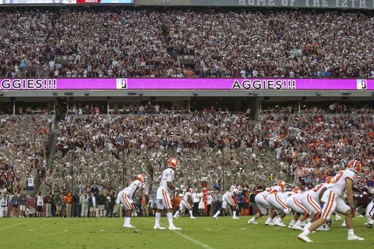 Sep 8, 2018; College Station, TX, USA; A general view of the Texas A&M Aggies crowd as Clemson Tigers quarterback Kelly Bryant (2) sets up a play during the first quarter at Kyle Field. Mandatory Credit: John Glaser-USA TODAY Sports