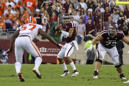 Sep 8, 2018; College Station, TX, USA; Texas A&M Aggies quarterback Kellen Mond (11) drops back to pass during the first quarter against the Clemson Tigers at Kyle Field. Mandatory Credit: John Glaser-USA TODAY Sports