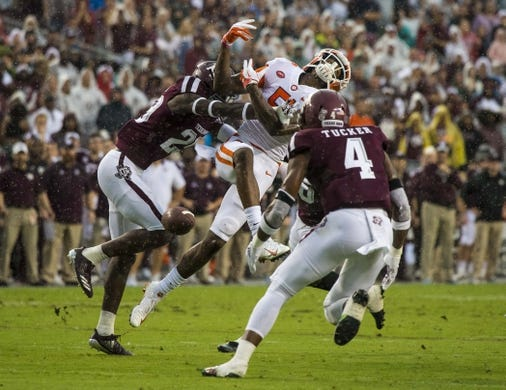 Sep 8, 2018; College Station, TX, USA; Texas A&M Aggies defensive back Debione Renfro (29) breaks up a pass intended for Clemson Tigers wide receiver Tee Higgins (5) during the first quarter at Kyle Field. Mandatory Credit: Jerome Miron-USA TODAY Sports