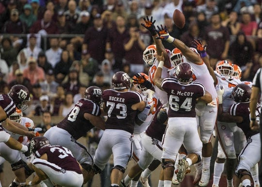 Sep 8, 2018; College Station, TX, USA; The Texas A&M Aggies score a field goal against the Clemson Tigers during the first quarter at Kyle Field. Mandatory Credit: Jerome Miron-USA TODAY Sports