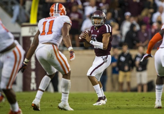 Sep 8, 2018; College Station, TX, USA; Texas A&M Aggies quarterback Kellen Mond (11) drops back to pass against the Clemson Tigers during the first quarter at Kyle Field. Mandatory Credit: Jerome Miron-USA TODAY Sports