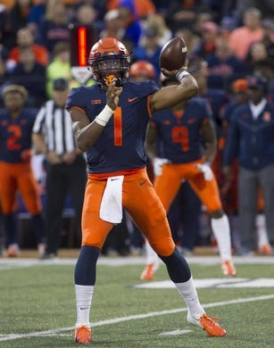 Sep 8, 2018; Champaign, IL, USA; Illinois Fighting Illini quarterback AJ Bush (1) sets up to pass during the first quarter against the Western Illinois Leathernecks at Memorial Stadium. Mandatory Credit: Mike Granse-USA TODAY Sports