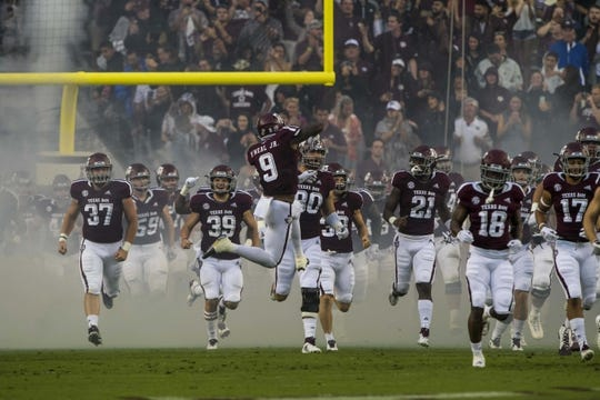 Sep 8, 2018; College Station, TX, USA; The Texas A&M Aggies take the field to face the Clemson Tigers at Kyle Field. Mandatory Credit: Jerome Miron-USA TODAY Sports