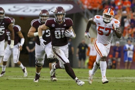 Sep 8, 2018; College Station, TX, USA; Texas A&M Aggies tight end Jace Sternberger (81) runs for yards after a catch during the first quarter against the Clemson Tigers at Kyle Field. Mandatory Credit: John Glaser-USA TODAY Sports