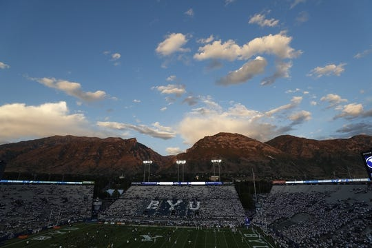 Sep 8, 2018; Provo, UT, USA; A general view of LaVell Edwards Stadium where the Brigham Young Cougars will play the California Golden Bears. Mandatory Credit: Jeff Swinger-USA TODAY Sports