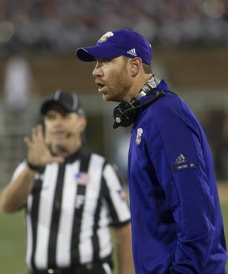 Sep 8, 2018; Champaign, IL, USA; Western Illinois Leathernecks head coach Jared Elliott reacts to a penalty during the first quarter against the Illinois Fighting Illini at Memorial Stadium. Mandatory Credit: Mike Granse-USA TODAY Sports