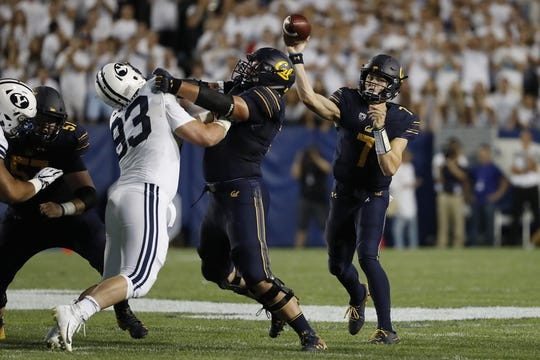 Sep 8, 2018; Provo, UT, USA; California Golden Bears quarterback Chase Garbers (7) looks to pass against the Brigham Young Cougars at LaVell Edwards Stadium. Mandatory Credit: Jeff Swinger-USA TODAY Sports