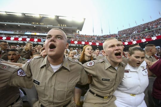 Sep 8, 2018; College Station, TX, USA; Texas A&M Aggies fans sing before the start of the game against the Clemson Tigers at Kyle Field. Mandatory Credit: John Glaser-USA TODAY Sports