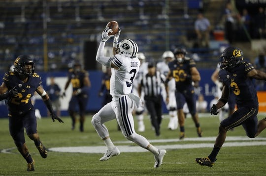 Sep 8, 2018; Provo, UT, USA; Brigham Young Cougars wide receiver Dylan Collie (3) can't make the catch against California Golden Bears cornerback Camryn Bynum (24) and cornerback Elijah Hicks (3) in the second quarter at LaVell Edwards Stadium. Mandatory Credit: Jeff Swinger-USA TODAY Sports