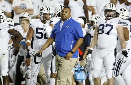Sep 8, 2018; Provo, UT, USA; Brigham Young Cougars head coach Kalani Sitake keeps an eye on the action in the second quarter against the California Golden Bears at LaVell Edwards Stadium. Mandatory Credit: Jeff Swinger-USA TODAY Sports
