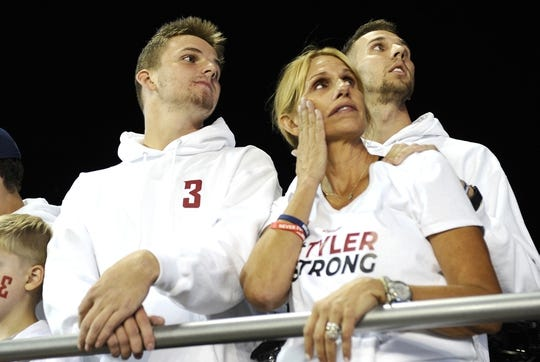Sep 8, 2018; Pullman, WA, USA; Kym Hilinski, far right, looks up at the video board before the Washington State Cougars and San Jose State Spartans football game at Martin Stadium. Mandatory Credit: James Snook-USA TODAY Sports