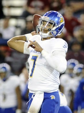 Sep 8, 2018; Pullman, WA, USA; San Jose State Spartans quarterback Montel Aaron (7) drops back for a pass against the Washington State Cougars during the first half at Martin Stadium. Mandatory Credit: James Snook-USA TODAY Sports