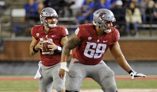 Sep 8, 2018; Pullman, WA, USA; Washington State Cougars quarterback Gardner Minshew (16) drops back for a pass against the San Jose State Spartans during the first half at Martin Stadium. Mandatory Credit: James Snook-USA TODAY Sports