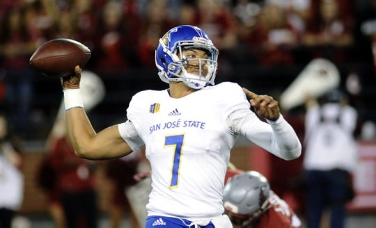 Sep 8, 2018; Pullman, WA, USA; San Jose State Spartans quarterback Montel Aaron (7) throws a pass against the Washington State Cougars during the first half at Martin Stadium. Mandatory Credit: James Snook-USA TODAY Sports