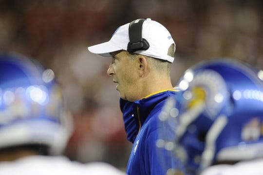 Sep 8, 2018; Pullman, WA, USA; San Jose State Spartans head coach Brent Brennan looks on during a football game against the Washington State Cougars during the first half at Martin Stadium. Mandatory Credit: James Snook-USA TODAY Sports