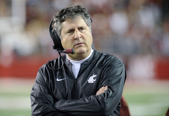 Sep 8, 2018; Pullman, WA, USA; Washington State Cougars head coach Mike Leach looks on during a football game against the San Jose State Spartans during the first half at Martin Stadium. Mandatory Credit: James Snook-USA TODAY Sports