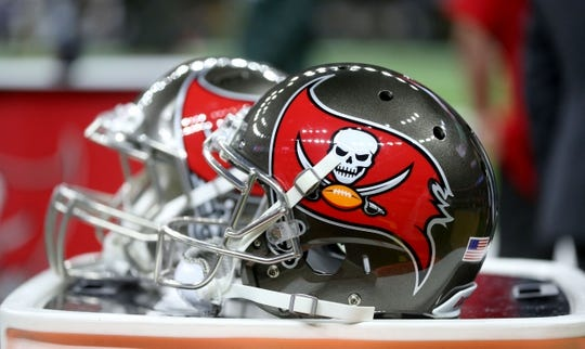 Sep 9, 2018; New Orleans, LA, USA; Tampa Bay Buccaneers helmets on the bench before their game against the New Orleans Saints at the Mercedes-Benz Superdome. Mandatory Credit: Chuck Cook-USA TODAY Sports