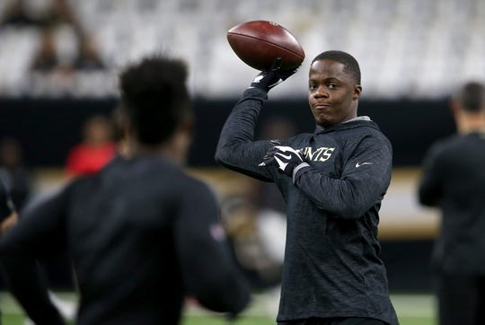 Sep 9, 2018; New Orleans, LA, USA; New Orleans Saints quarterback Teddy Bridgewater (5) throws before their game against the Tampa Bay Buccaneers at the Mercedes-Benz Superdome. Mandatory Credit: Chuck Cook-USA TODAY Sports