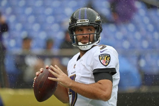 Sep 9, 2018; Baltimore, MD, USA; Baltimore Ravens quarterback Joe Flacco (5) warms up prior to the game against the Buffalo Bills at M&T Bank Stadium. Mandatory Credit: Mitch Stringer-USA TODAY Sports