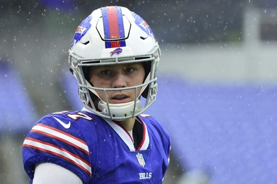 Sep 9, 2018; Baltimore, MD, USA; Buffalo Bills quarterback Josh Allen (17) stands on the field before the game against the Baltimore Ravens at M&T Bank Stadium. Mandatory Credit: Tommy Gilligan-USA TODAY Sports