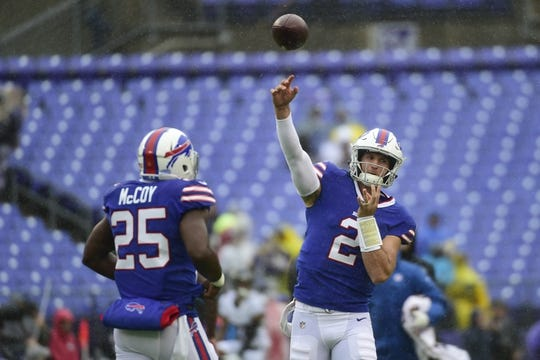 Sep 9, 2018; Baltimore, MD, USA; Buffalo Bills quarterback Nathan Peterman (2) throws before the game against the Baltimore Ravens at M&T Bank Stadium. Mandatory Credit: Tommy Gilligan-USA TODAY Sports