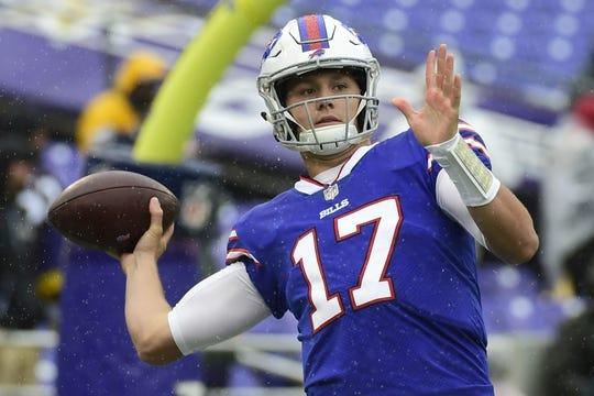 Sep 9, 2018; Baltimore, MD, USA; Buffalo Bills quarterback Josh Allen (17) throws before the game Baltimore Ravens at M&T Bank Stadium. Mandatory Credit: Tommy Gilligan-USA TODAY Sports