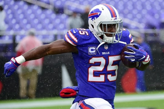 Sep 9, 2018; Baltimore, MD, USA; Buffalo Bills running back LeSean McCoy (25) runs with the ball before the game against the Baltimore Ravens at M&T Bank Stadium. Mandatory Credit: Tommy Gilligan-USA TODAY Sports
