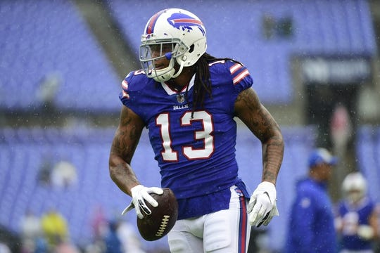 Sep 9, 2018; Baltimore, MD, USA; Buffalo Bills wide receiver Kelvin Benjamin (13) runs across the field before the game against the Baltimore Ravens at M&T Bank Stadium. Mandatory Credit: Tommy Gilligan-USA TODAY Sports