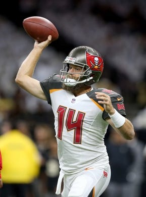 Sep 9, 2018; New Orleans, LA, USA; Tampa Bay Buccaneers quarterback Ryan Fitzpatrick (14) before their game against the New Orleans Saints at the Mercedes-Benz Superdome. Mandatory Credit: Chuck Cook-USA TODAY Sports