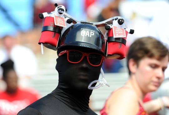 Sep 1, 2018; Troy, AL, USA; A Troy Trojans fan before the game against the Boise State Broncos at Veterans Memorial Stadium. Mandatory Credit: Christopher Hanewinckel-USA TODAY Sports