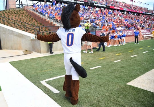 Sep 1, 2018; Troy, AL, USA; Boise State Broncos mascot Buster before the game against the Troy Trojans at Veterans Memorial Stadium. Mandatory Credit: Christopher Hanewinckel-USA TODAY Sports