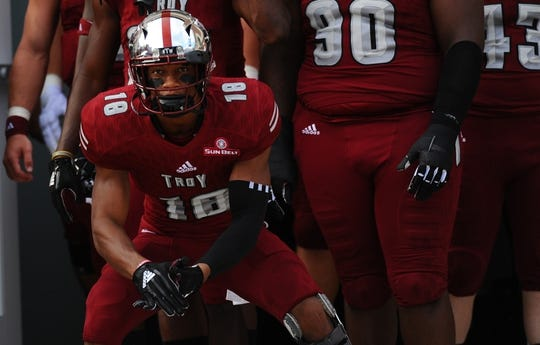 Sep 1, 2018; Troy, AL, USA; Troy Trojans cornerback Blace Brown (18) waits to take the field before the game against the Boise State Broncos at Veterans Memorial Stadium. Mandatory Credit: Christopher Hanewinckel-USA TODAY Sports
